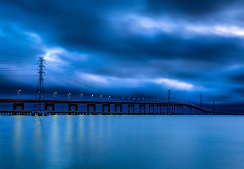 california longexposure bridge night sunrise highway unitedstates cloudy curves bridges slowshutter bayarea sunrises curve hdr sanmateo fostercity longexpo highway92