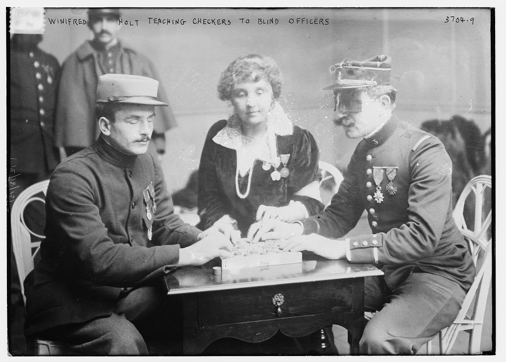 Winifred Holt teaching checkers to blind officers  (LOC)