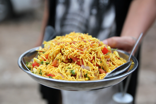 An incredible plate of bhel puri!
