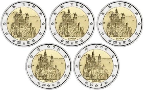 *5x 2 Euro Nemecko 2012 A-J, Spolková krajina Bavorsko
