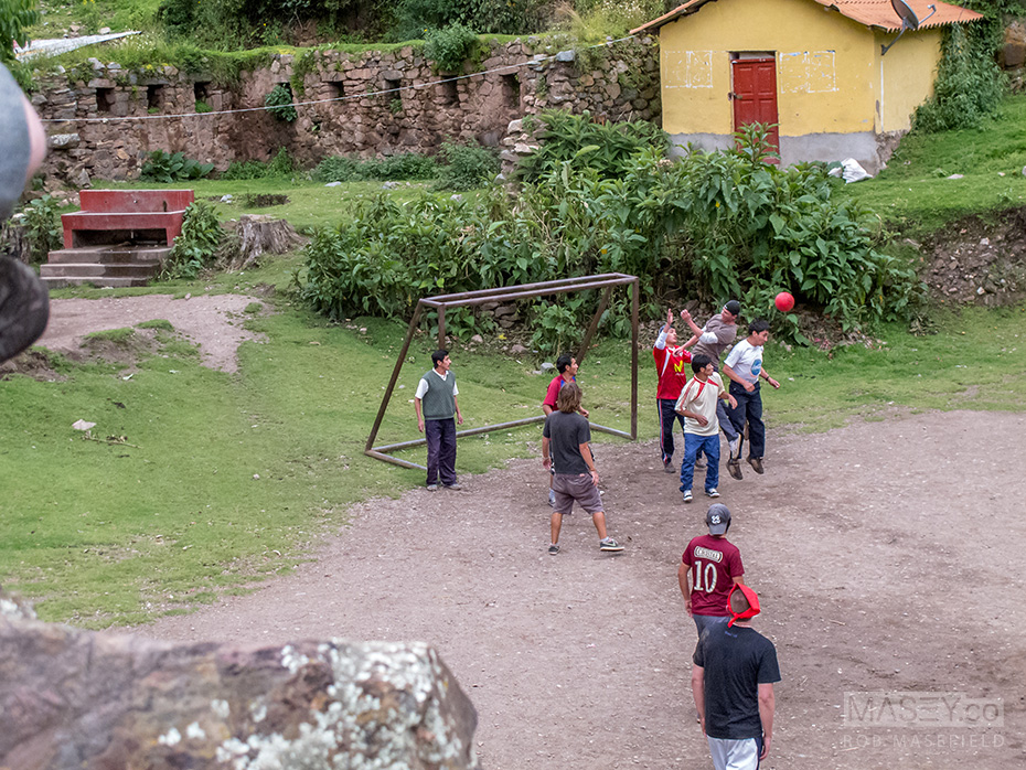 Some hikers and porters came together, and a game of soccer broke out.