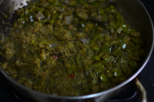 A third of the chutney, pureed