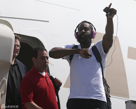October 7, 2013 - James Harden gets off the plane in Manila, The Philippines