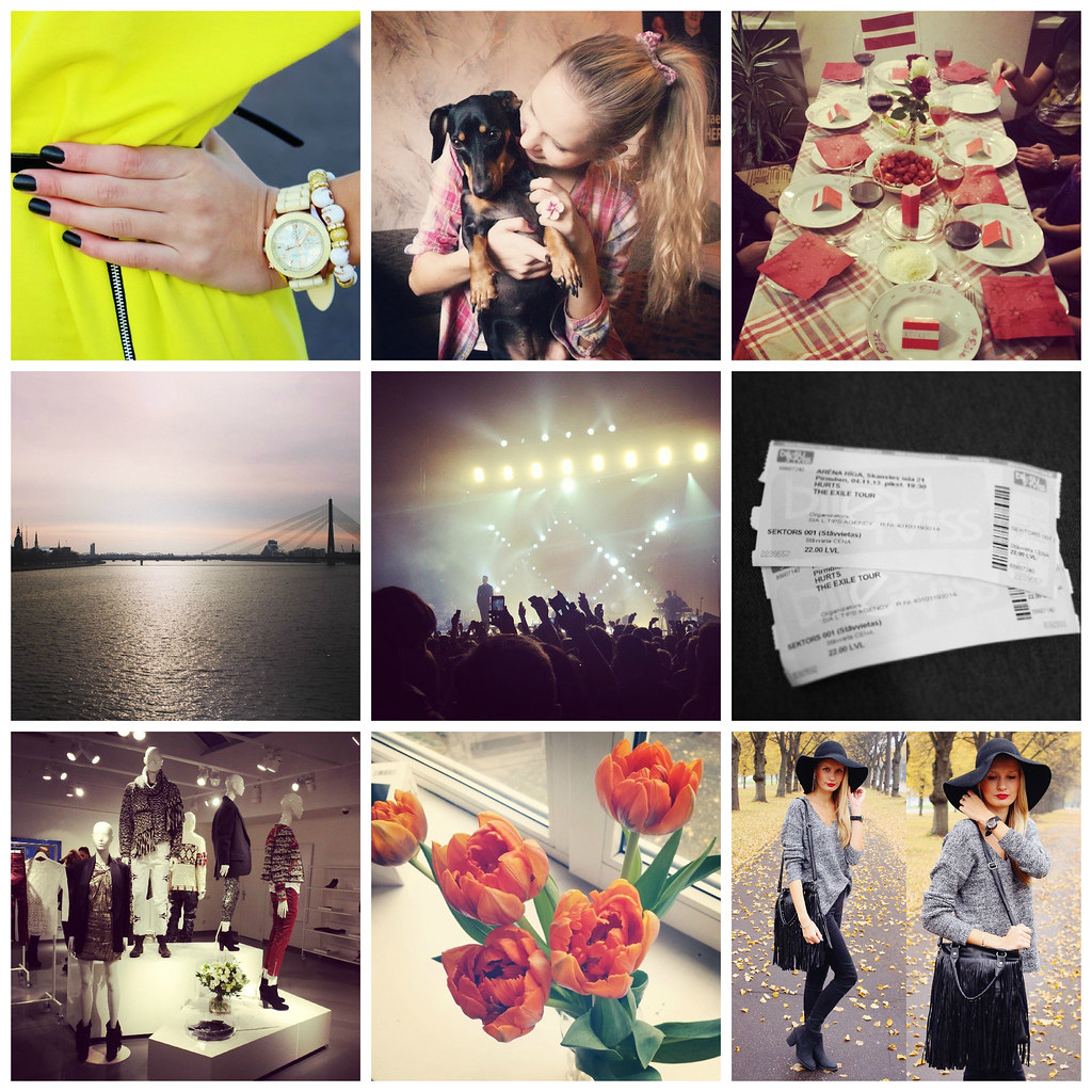 Instalately post on Call me Maddie: Persunmall skull bracelet, me (blonde girl) + my dachsund Josephine, Independence day of Latvia dinner table, riga from the view point of Daugava, hurts exile concert and experience, tickets to hurts concert, isabel marant for H&M (showroom),