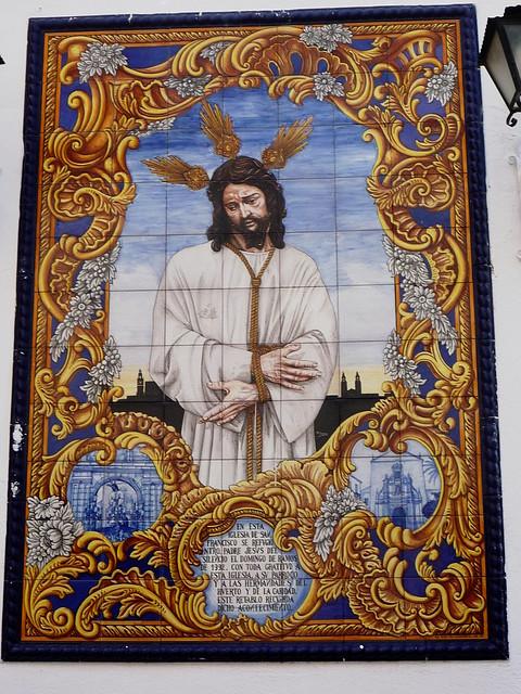 Christusbild auf blauen Fliesen bei San Francisco