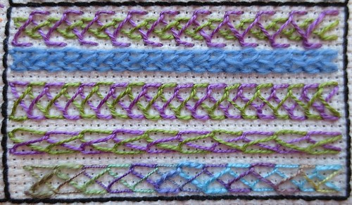 Crossed & plaited feather stitch