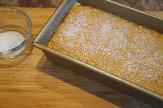 banana bread batter and sparkling sugar
