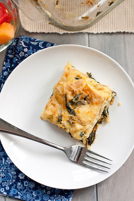 Caramelized Onions and Spinach Egg Casserole
