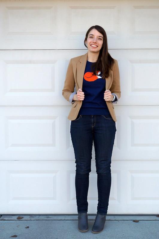 Target Merona Blazer + fox sweater