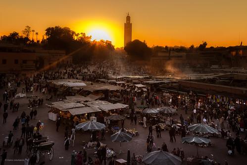sunset sunrise morocco marrakech moroc jamaaelfna