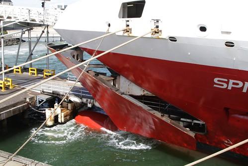 Bow doors of the Spirit of Tasmania II opened for loading