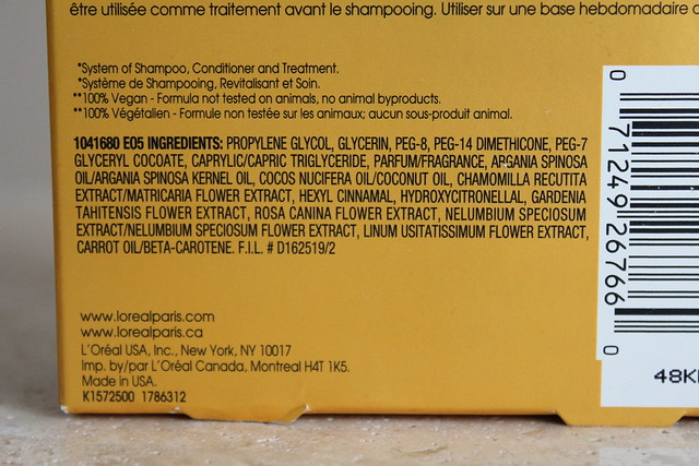 L'Oreal Paris OleoTherapy Self-Heating Hot Oil ingredients