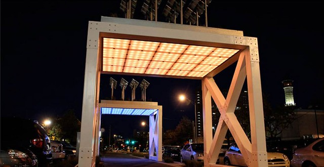 art installation on the Trail (Prairie Modules 1 & 2, by M12; photo courtesy of Indianapolis Cultural Trail)