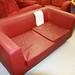 2 seater wine leatherette sofa