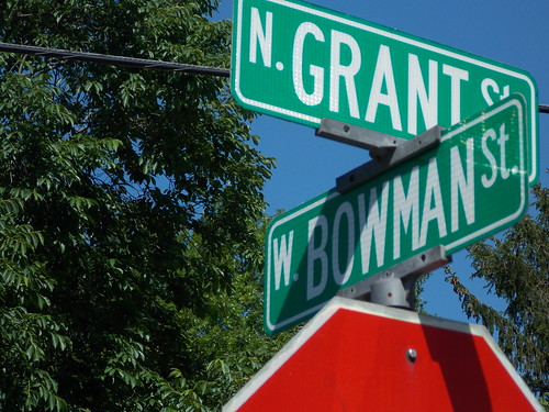 Intersection of N Grant St and W Bowman St