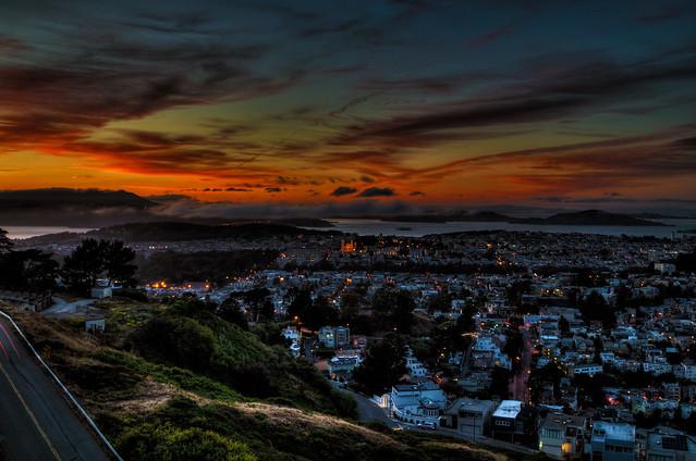 Sunset over Twin Peaks