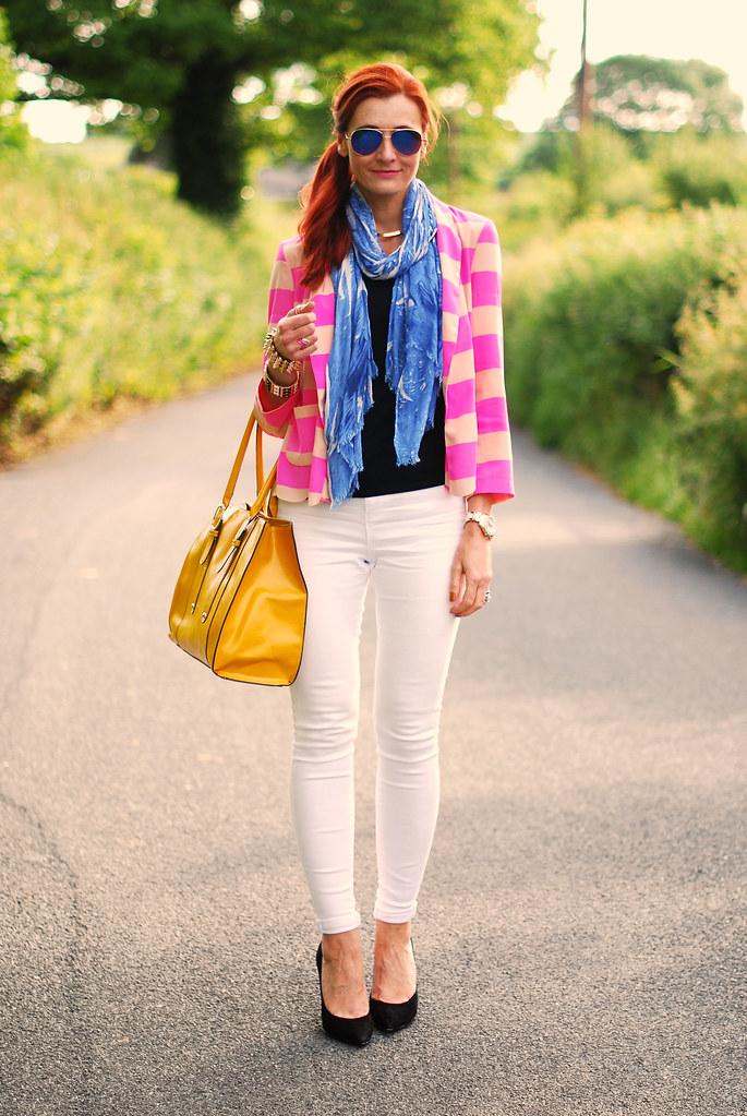 Pink neon stripes, white skinnies