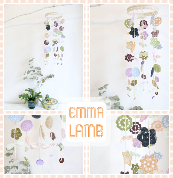 Custom colourway of my medium Merry Mobile design : cool greens with violet, peach and damson | Emma Lamb
