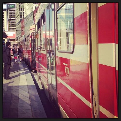 #tramjam near #centraalstation, #denhaag. No crashes but along line of#red #trams.