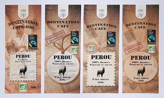 Création de packaging pour des paquets de café.