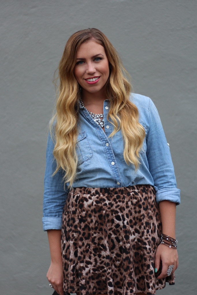 Living After Midnite: Chambray & Leopard + a Bracelet Giveaway