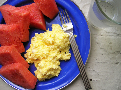 scrambled eggs and watermelon