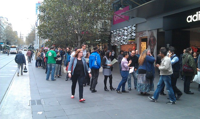 Long queue to vote, Bourke St Mall. #AusVotes