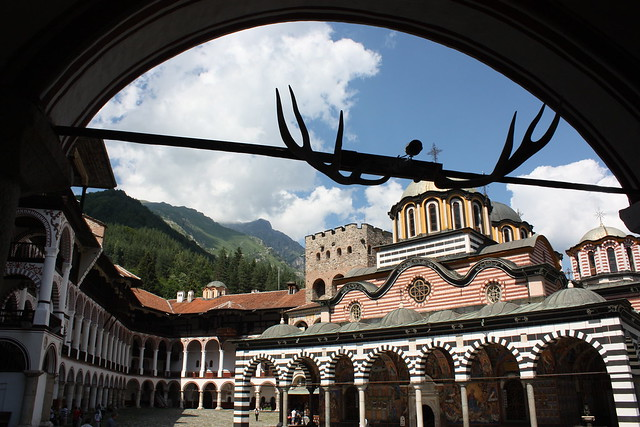 Entry way and horns at Rila
