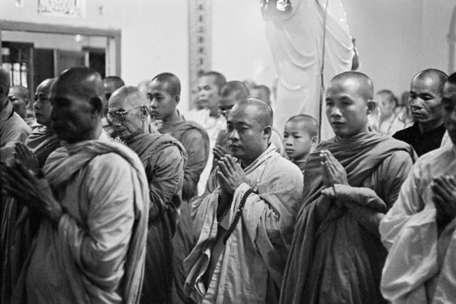 (8:00 AM June 11, 1963)  Monks and nuns recited funeral chants before the demonstration