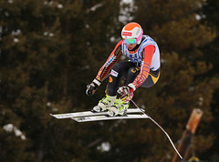 Ben Thomsen competes in the downhill in Lake Louise, CAN