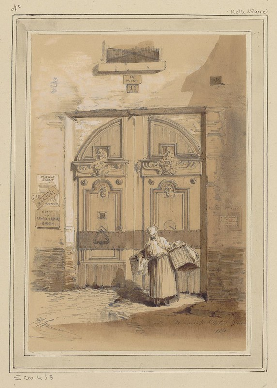 19th c. sketch of woman carrying wicker baskets facing large ornate double doors of an urban Paris building