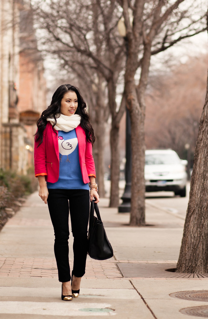 cute & little blog   pink blazer, white infinity scarf, french hen animal sweater   winter outfit