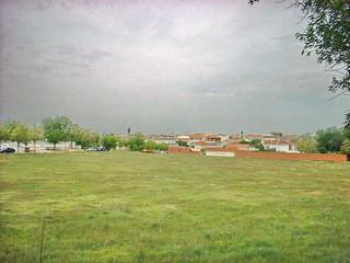 Noblejas, vista desde la esquina de las calles Villacisneros y Paseo de la Estación