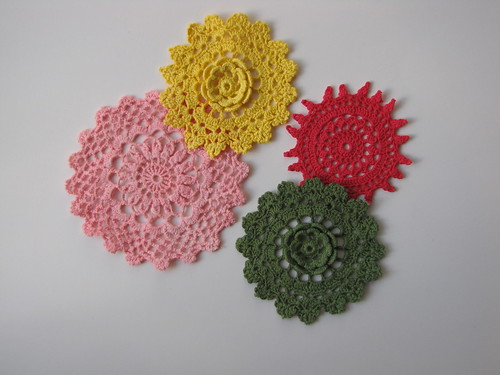 Beautiful vintage hand-dyed doilies