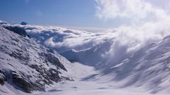 Zjazd lodowcem Oberaargletscher,  do jeziora Oberaarsee.