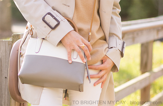 trench coat, camel sweater, white jeans, colorblock crossbody bag