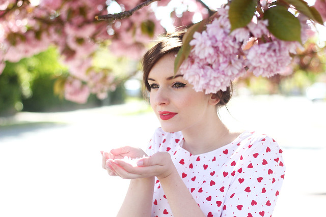 Cherry Blossom Outfit Post Vintage Style Me Dress Zara Coat