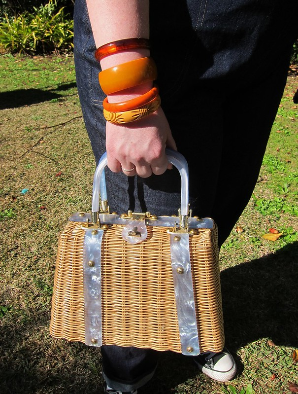 bakelite bracelets bangles lucite handbag wicker 1950s vintage