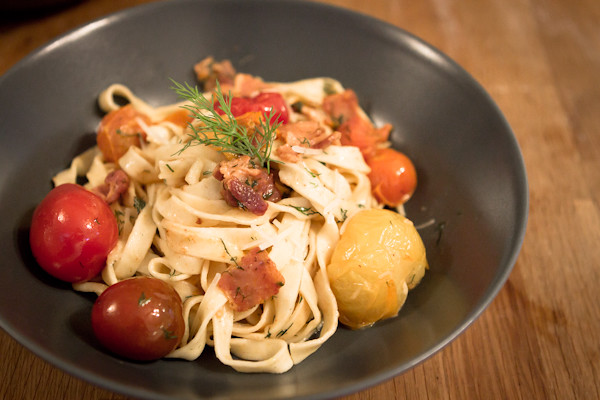 Dill And Smoked Bacon Fettuccine with Mixed Tomatoes