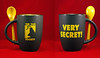 THE TICK SAN DIEGO COMIC-CON 2015 BLACK AND YELLOW CERAMIC COFFEE CUP WITH STIRRING SPOOOON! by vsndesigns