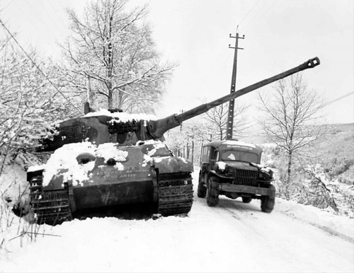 Panzerkampfwagen VI. B Tiger II) No. 204 of battle group (Kampfgruppe Peiper) Knocked out near La Gleize Dec 1944