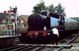91-177  On loan RS&H 0-6-0T No. 7597 running into Tenterden Town