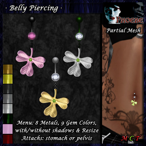 *P* Irish Luck Belly Piercing ~8 Metals-9 Gems~