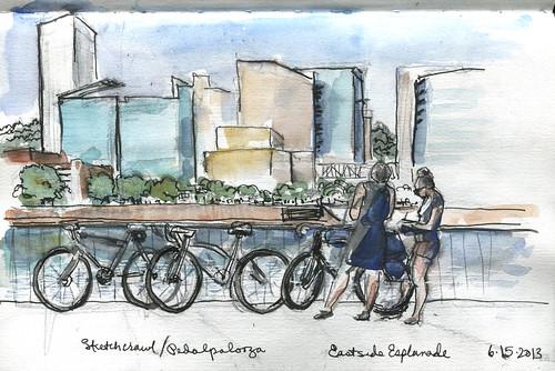 Sketchcrawl/Pedalpalooza - Portland from Eastside Esplanade