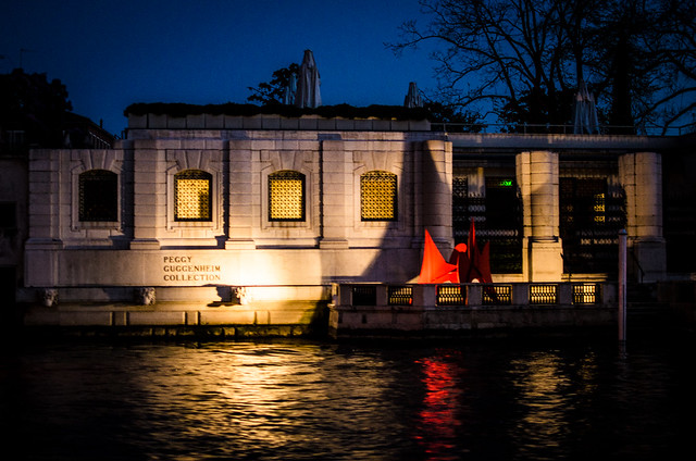 Night time at the Peggy Guggenheim Museum in Venice.
