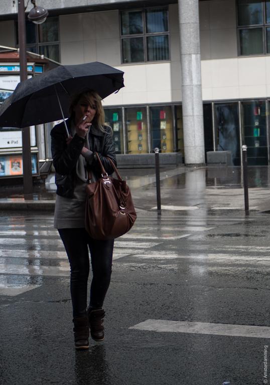 Paris, Woman Smoking under Umbrella