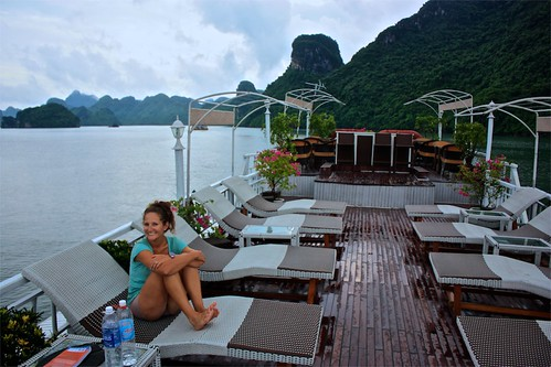 Enjoying the deck on our way back to Ha Long