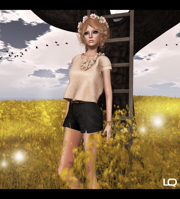 C88 July - (Milk Motion) 3d flowers lace top - nude