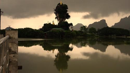 trees green landscape pagoda asia buddha burma buddhist religion buddhism august tropical myanmar haan paan hpaan phaan kyaikkalat