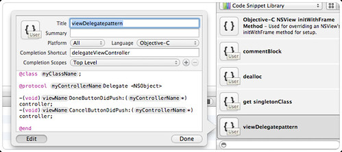 xcode code snippet how to add and edit and placeholder